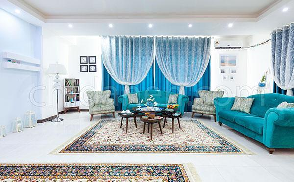 دکوراسیون آبی و سفید خانه آرام امیر و زهرا را ببینید
